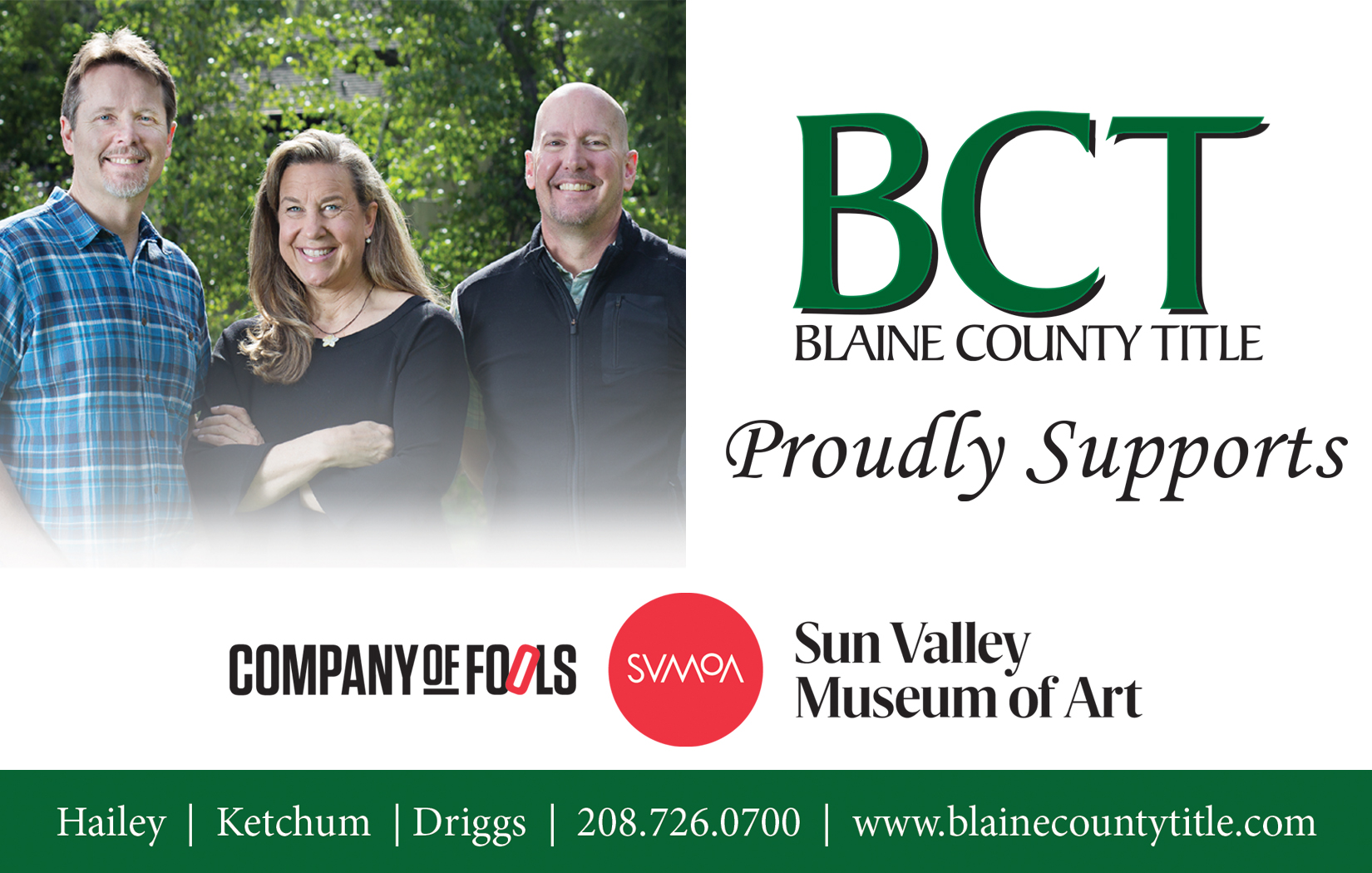 Blaine County Title — Company of Fools Season Sponsor