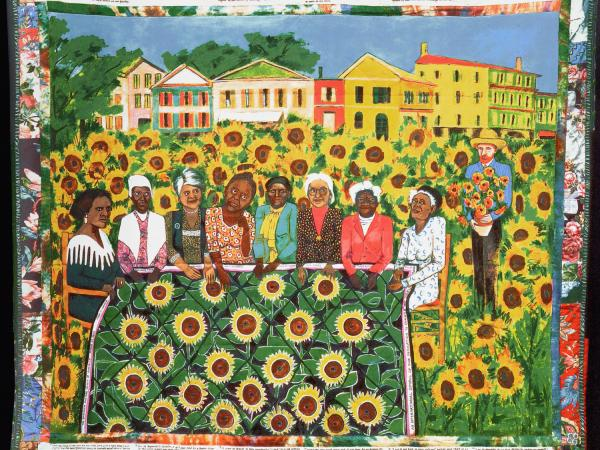"Faith Ringgold, The Sunflowers Quilting Bee at Arles, 1991, Acrylic on canvas with fabric border, 74"" x 80"""